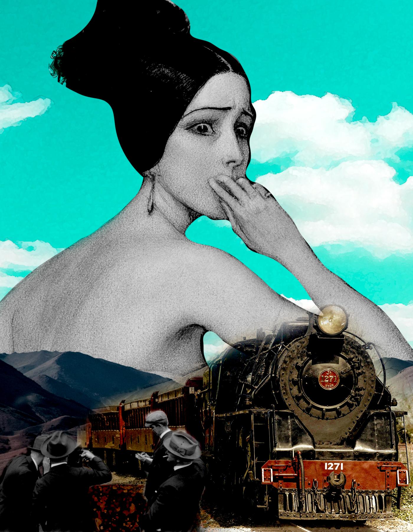 Mujer en blanco y negro con cara de dudar. Tren antiguo a color con grupo de fotógrafos en blanco y negro. Cielo y tren a color. Surrealismo. Loco Mundo Arte y Bohemia