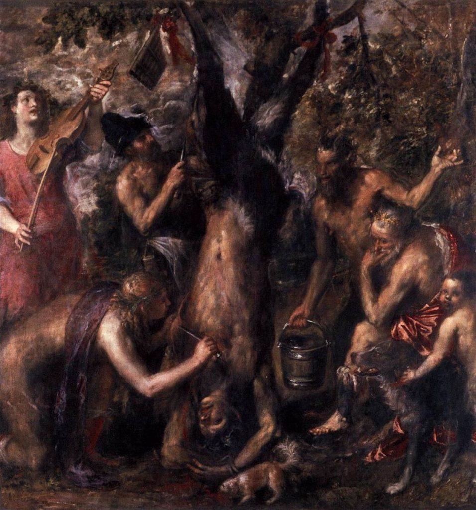 El desollamiento de Marsias por Tiziano. 1576