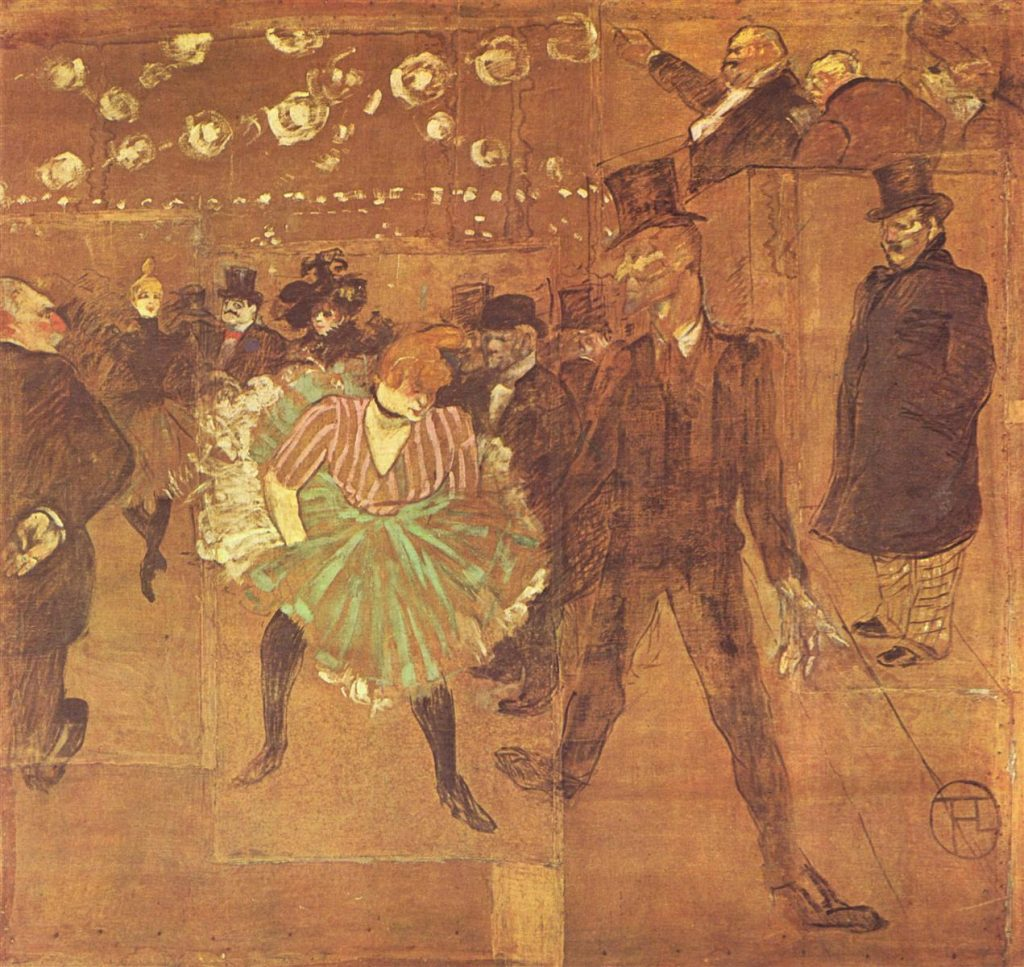 "Panel de la Barraca de la Goulue pintada por Toulouse Lautrec. ""Bailando en el Moulin Rouge"""