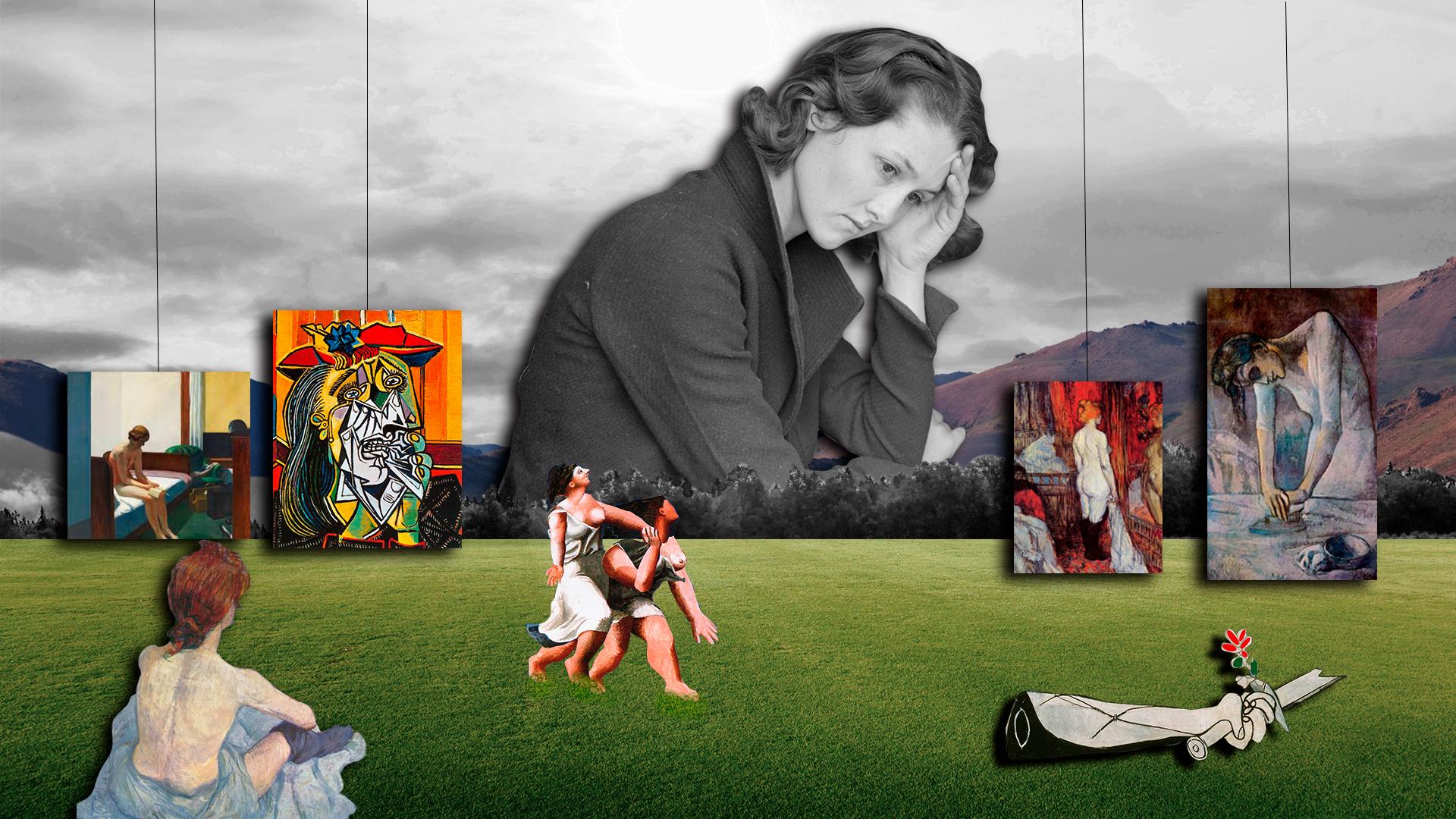 Collage de imágenes de cuadros de mujeres de Picasso, Hopper, Toulouse Lautrec. Al fondo una mujer pensativa entre montañas. Loco Mundo Arte y Bohemia