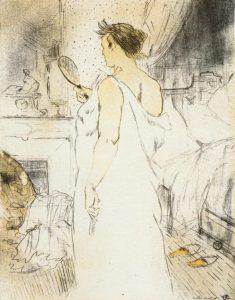 Mujer mirándose en el espejo. Serie Elles. Toulouse Lautrec