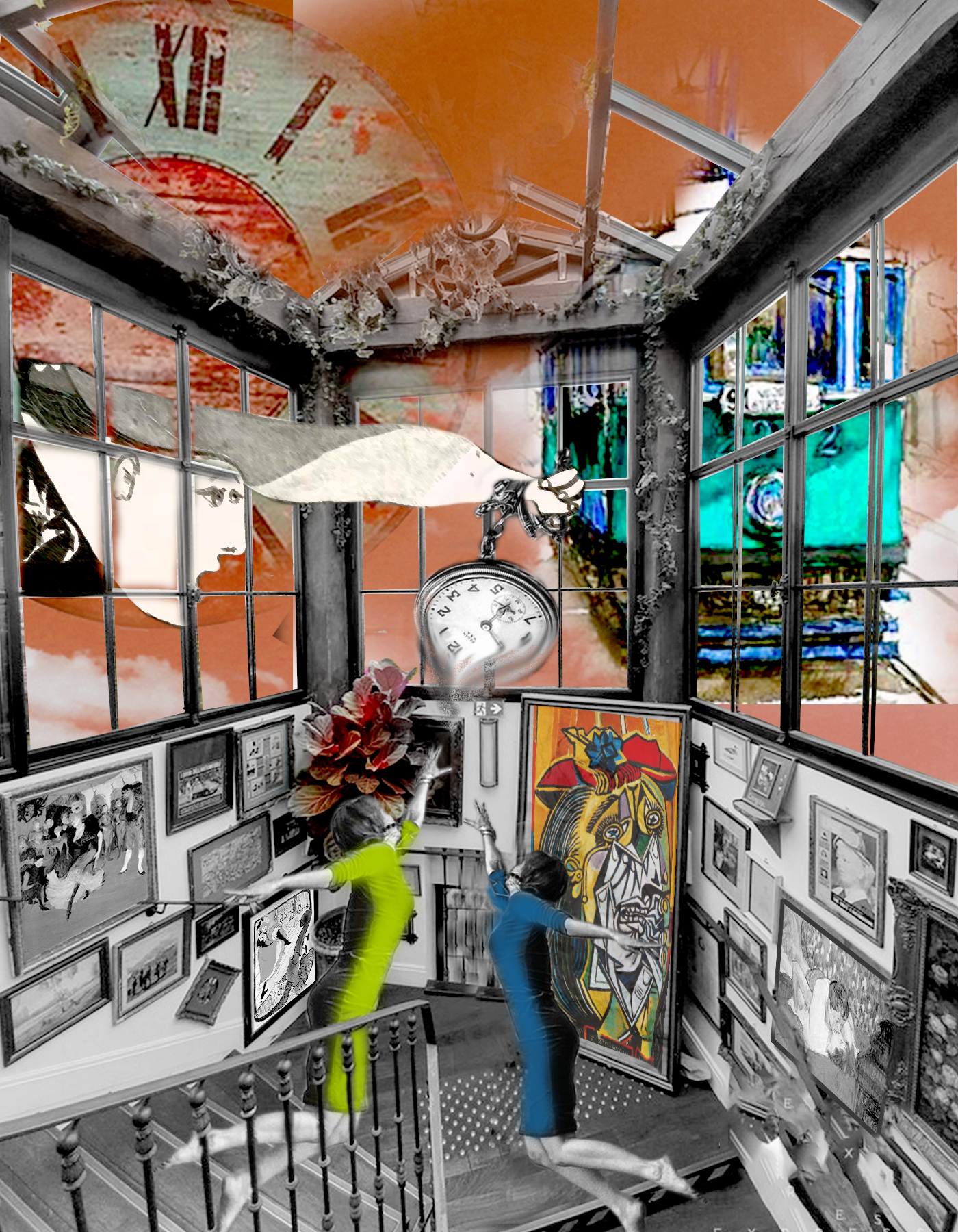 Collage galería pintura con Mujeres saltando y reloj del tiempo. Tranvía a través del ventanal. Loco Mundo Arte y Bohemia
