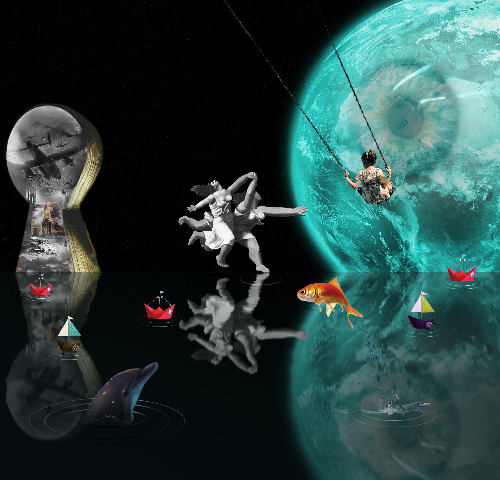 Collage surrealista con luna-ojo gigante y cerradura con aviones tirando bombas. Mujeres corriendo de Picasso en Blanco y negro. Niña columpio y delfín, pez y barquitos. Loco Mundo Arte y Bohemia