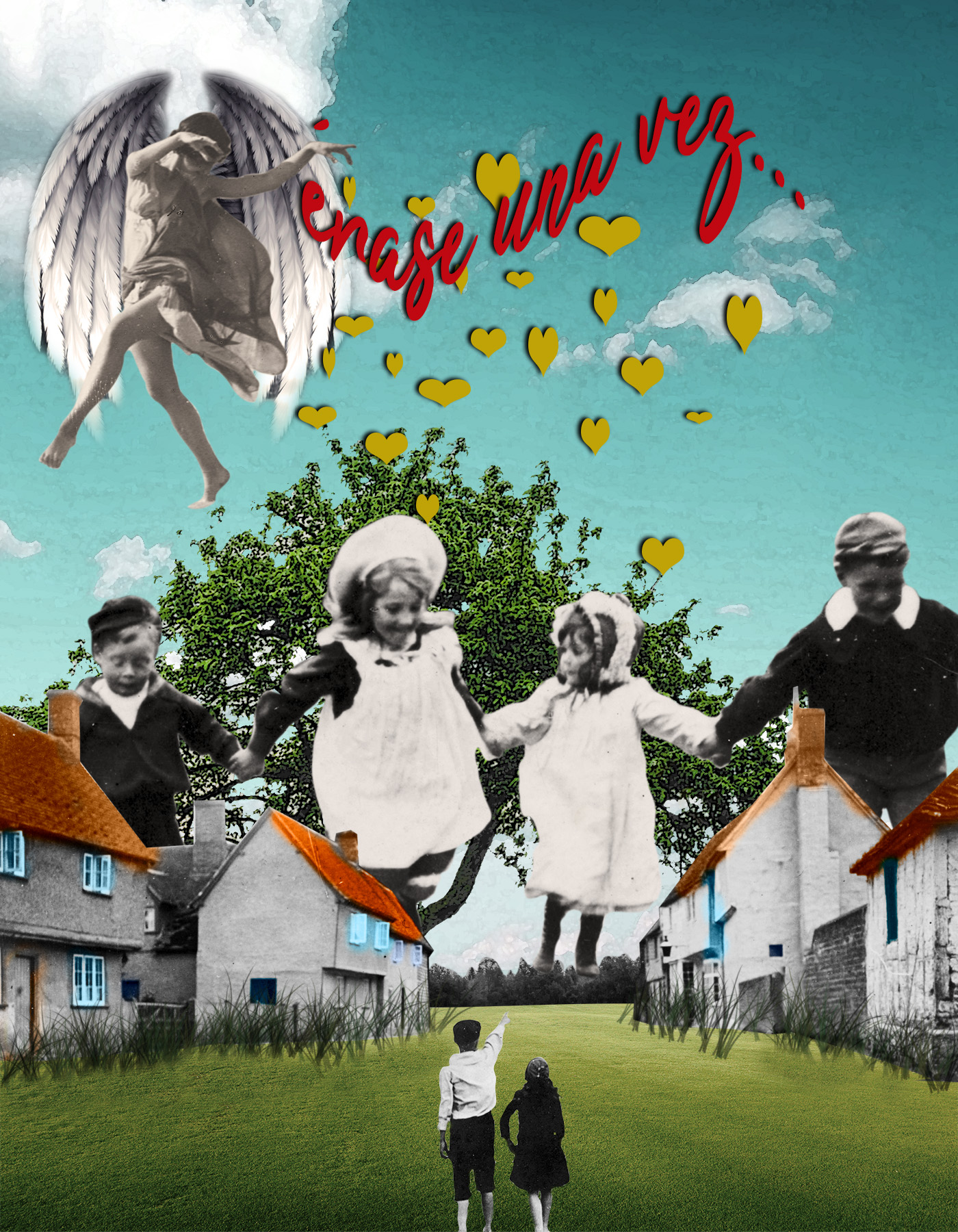 Mujer con alas repartiendo corazones y cuentos. Niños gigantes corriendo en blanco y negro sobre paisaje a color. Collage. Surrealismo. Loco Mundo Arte y Bohemia