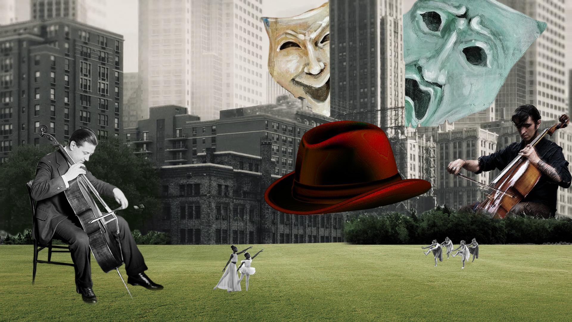 Surrealismo con rascacielos en blanco y negro. Máscaras. Hombres tocando el violonchelo, bailarinas y sombrero levitando. Loco Mundo Arte y Bohemia
