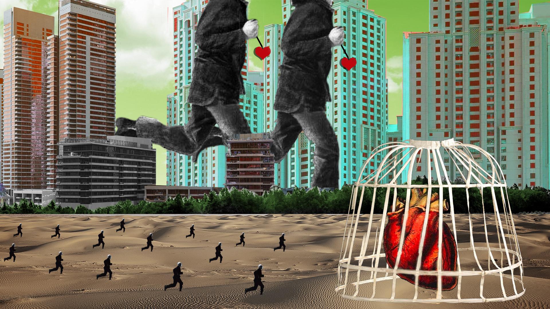 Collage surrealista rascacielos al fondo y hombres corriendo gigantes y pequeño. Corazón en una jaula. Loco Mundo Arte y Bohemia.