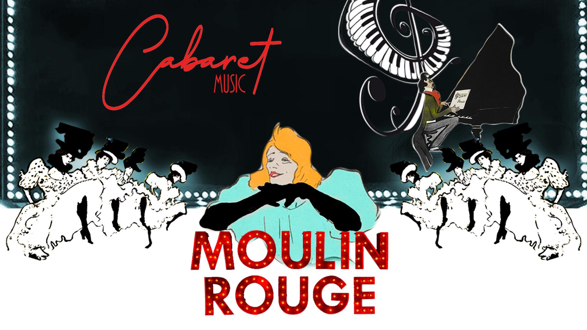 Collage Cabaret y mujeres bailando el cancan, con Yvette Guilbert y una figura tocando el piano. Anuncio del Cabaret Music. Loco Mundo Arte y Bohemia