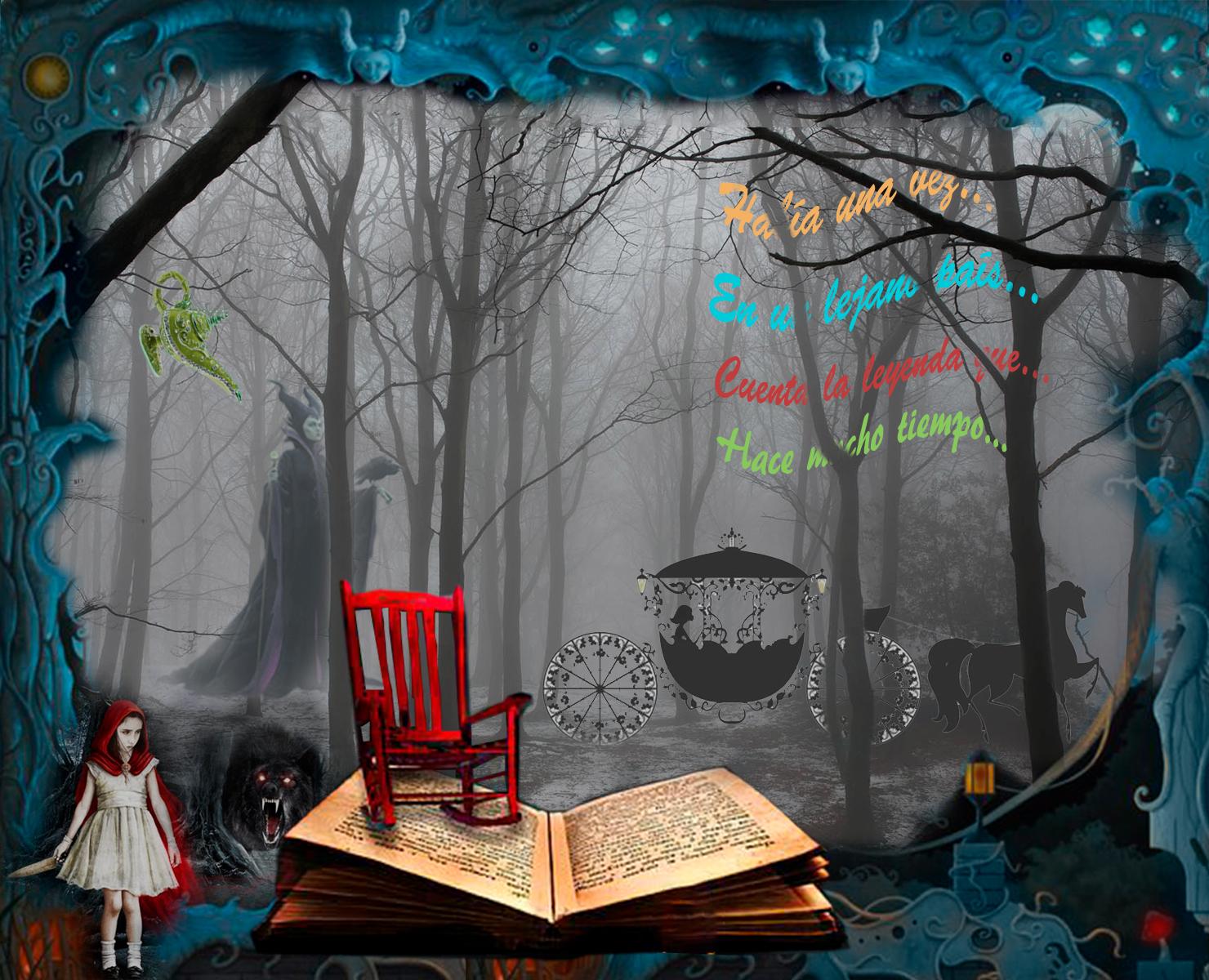 Collage de un bosque con personajes de cuentos: caperucita y el lobo, la madrastra, cenicienta, aladino, y mecedora y libro. Loco Mundo Arte y Bohemia