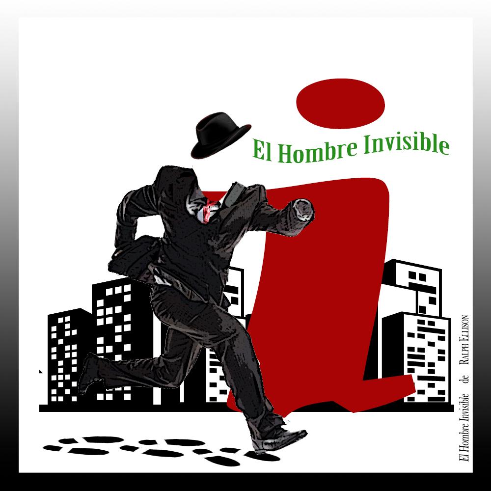 Letra capitular i de la novela El hombre invisible de Ralph Ellison, con imagen de un hombre corriendo y fondo de ciudad y círculo. Loco Mundo Arte y Bohemia.