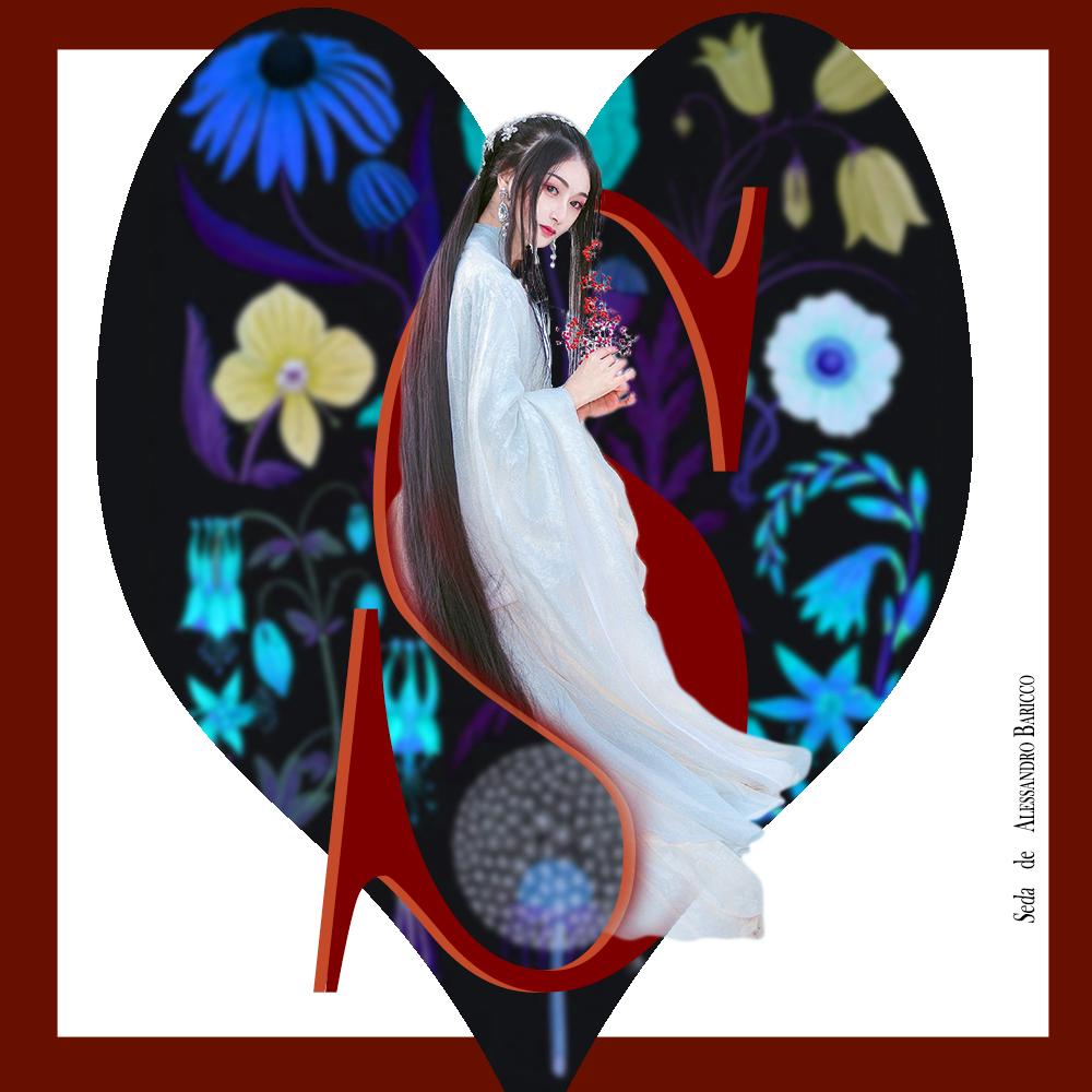 Letra capitular S de la novela Seda de Alessandro Baricco, con imagen de una mujer oriental con fondo de corazón y flores. Loco Mundo Arte y Bohemia.