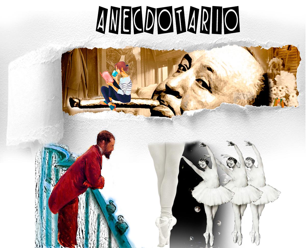 Collage imágenes de Hitchcock, chica leyendo, papel rasgado, con imagen de un hombre asomado a un palco y bailarinas de ballet en blanco y negro. Loco Mundo Arte y Bohemia