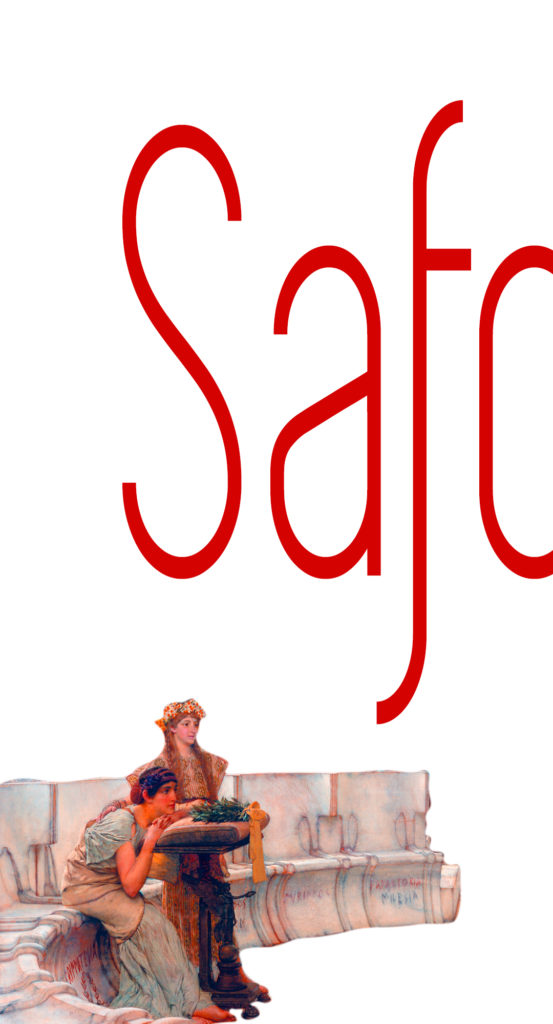Imagen dibujo dos mujeres escuchando con la palabra Safo en grande