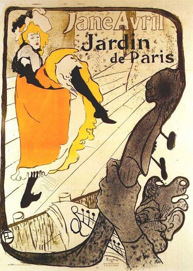 Jane Avril en el Cabaret Jardín de París. Toulouse Lautrec. 1893
