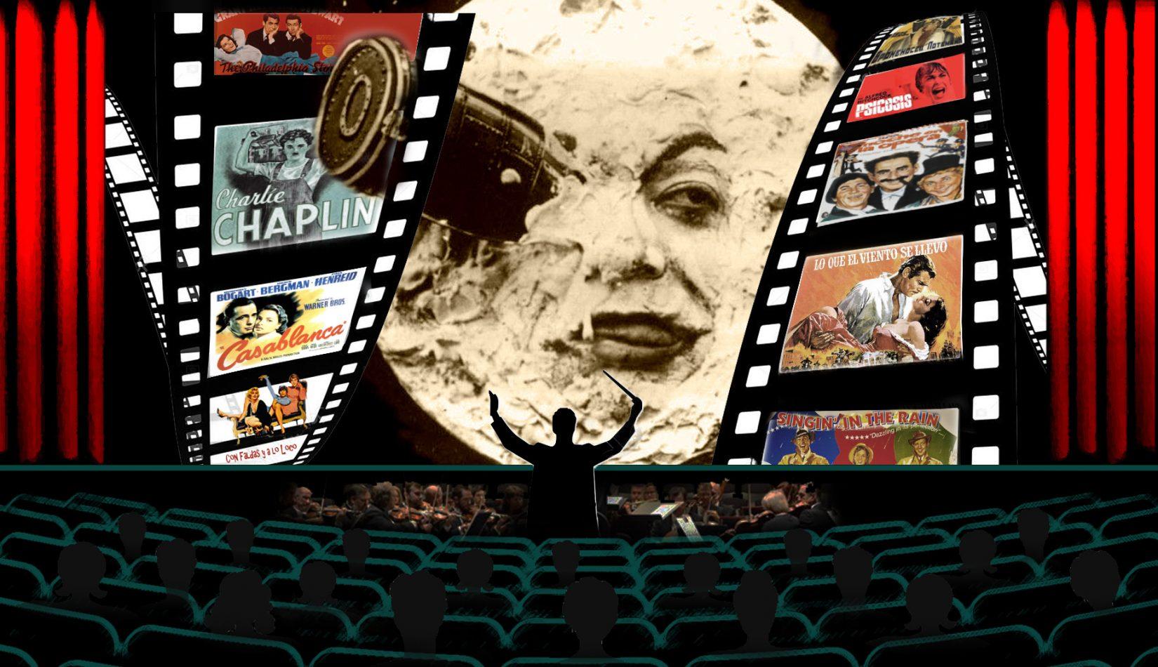 Sala de cine con orquesta. Imagen Viaje a la Luna de Georges Melies y cinta con diversos carteles de películas antiguas. Loco Mundo Arte y Bohemia