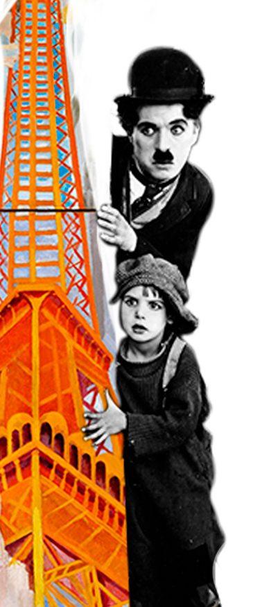 Imagen surrealista de pintura de la Torre Eiffel y foto blanco y negro de El Chico - The kid- de Charles Chaplin - Loco Mundo Arte y Bohemia
