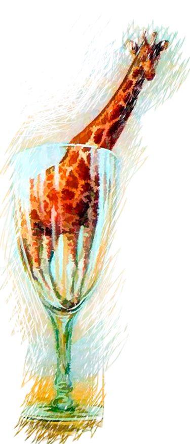 René Magritte - Surrealismo - Jirafa metida en una copa - The cut-glass bath - El baño de cristal - Loco Mundo Arte y Bohemia